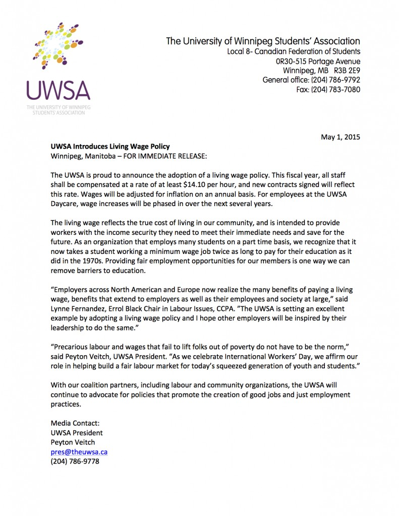News Release - Living Wage
