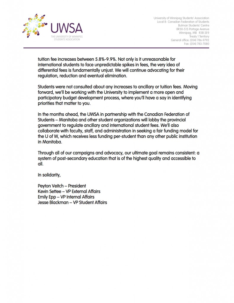 Letter to Members re Budget Website 2