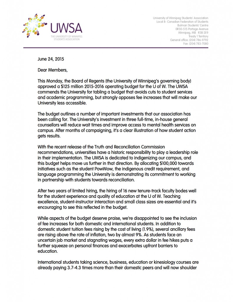 Letter to Members re Budget Website