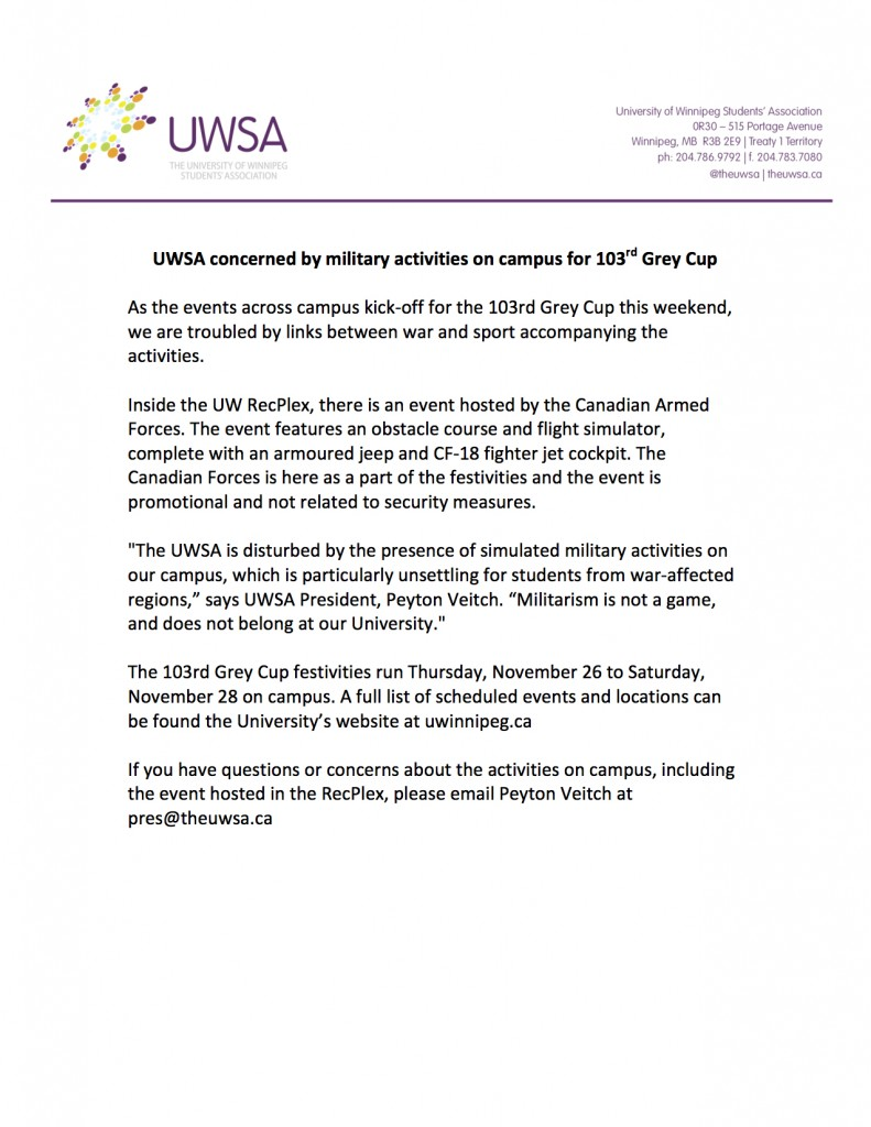 UWSA concerned by military activities on campus for 103rd Grey Cup