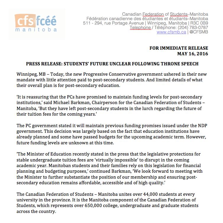 CFS-MB News Release 05:2016