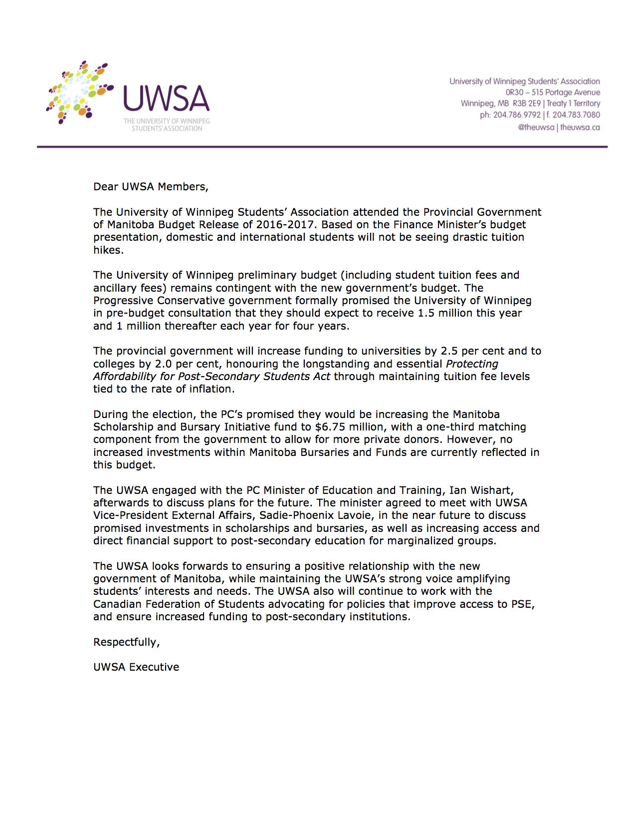 UWSA Budget Members Statement