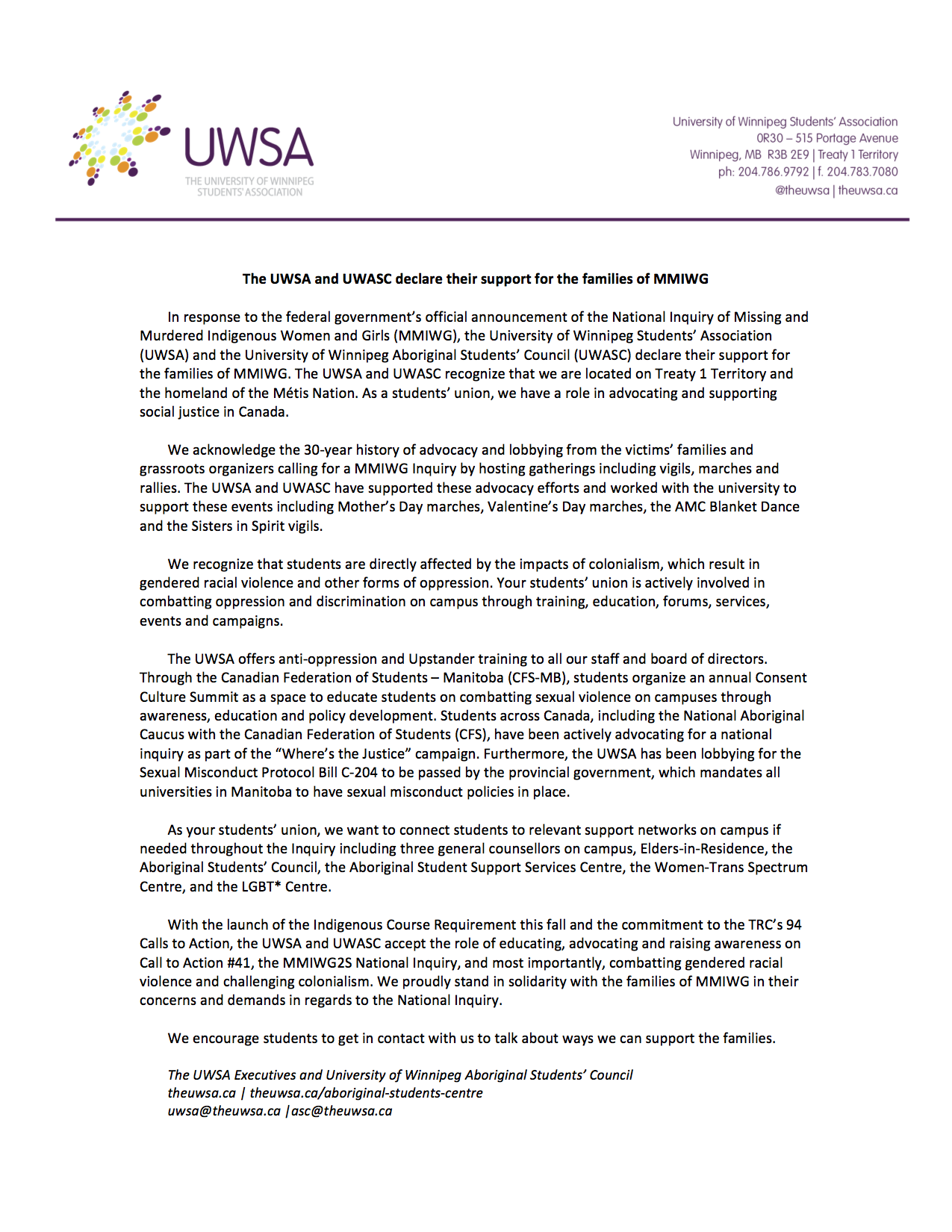 UWSA Statement MMIWG