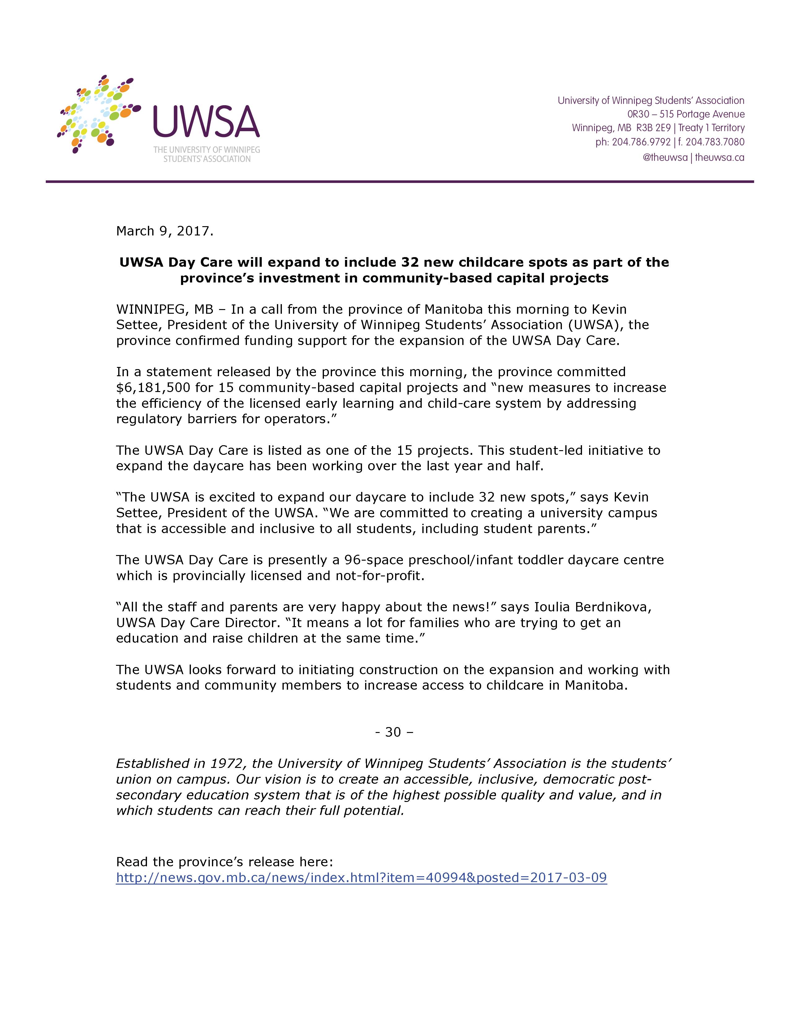 UWSA Daycare - March 9