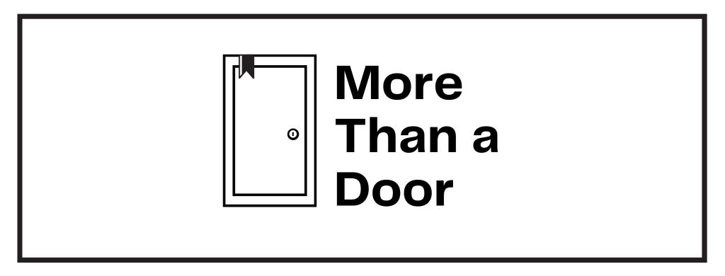 An image of a door with a bookmark on top left corner. Text says More than a Door